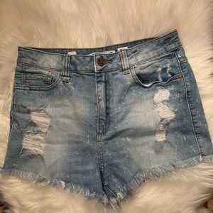High rise distressed denim shorts!!!